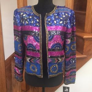 Vintage Leslie Fay Beaded Evening Jacket, Medium